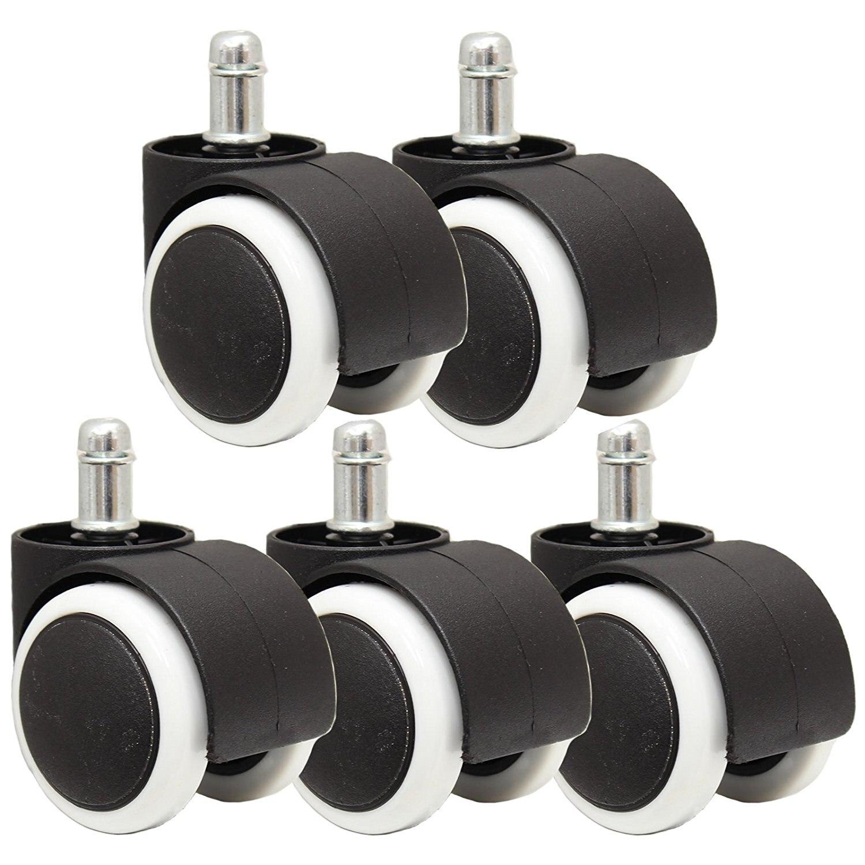 5 piezas de silla de oficina giratoria Universal de 360 grados rueda de silla blanco y negro diámetro 50mm