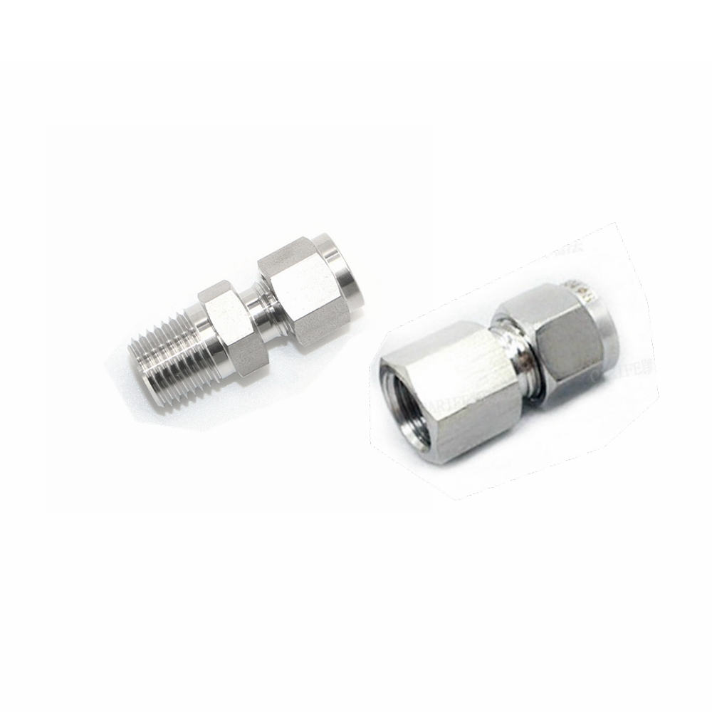 Double Ferrule Tube Pipe Fittings Threaded Male Connector Stainless Steel Pipe Fitting 1pt male thread x 22mm 25mm 25 4mm 1 od double ferrule tube air compression pipe fitting connector 304 stainless steel bspt