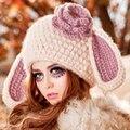2016 Invierno lindo gorras de punto, de las mujeres Grande Del Oído de Conejo caliente Boinas Señora Beanie Sombrero