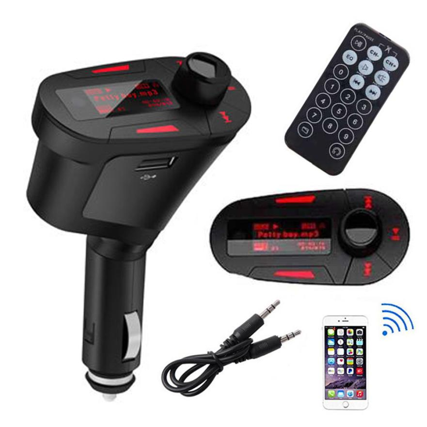 Car Kit MP3 Player Audio Wireless FM Transmitter Remote USB SD Card Aux In Dual Output Car MP3(China)