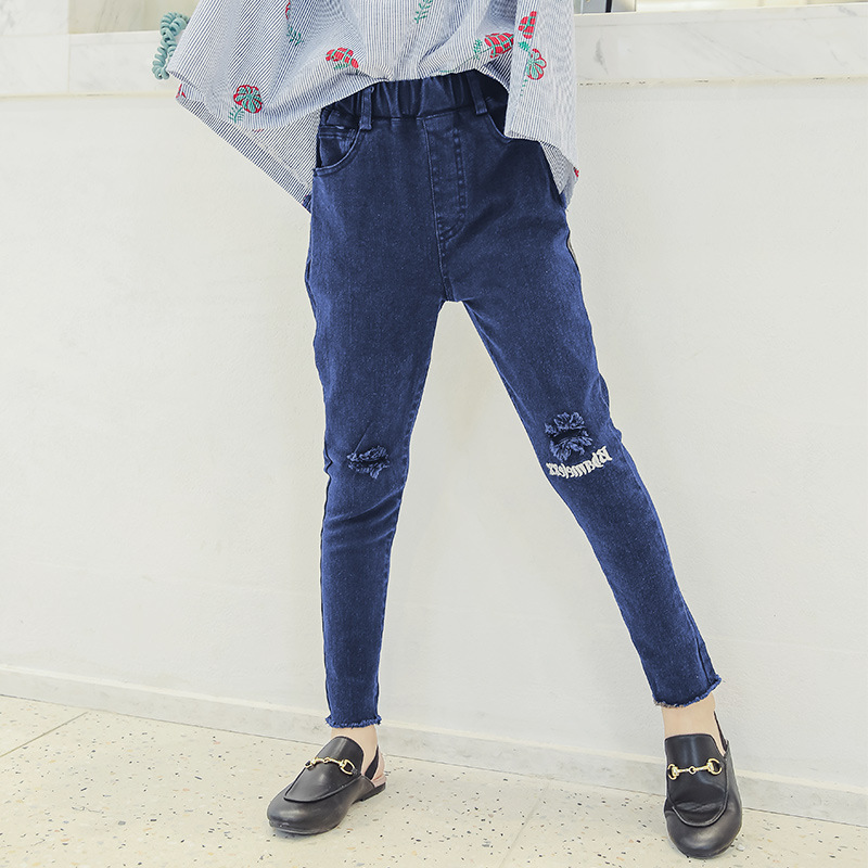 Ripped Jeans For Girls Autumn 4 5 6 8 8 9 11 12 13 Years Back To School Kids Denim Pants Trousers Teenage Toddler Girl Clothing цена