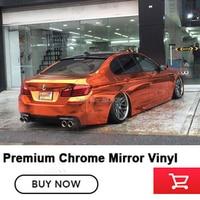 Orange Chrome Mirror Vinyl Car Wrap Sticker with Air Release Bubble Free Gloss Orange Super Chrome Vinyl Wrap High end glue