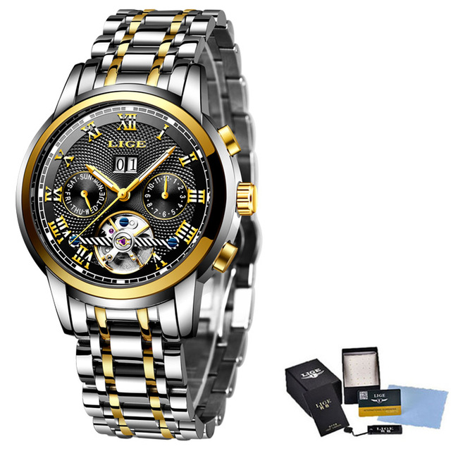LIGE New Men's Mechanical Stainless Steel Automatic Wrist Watches