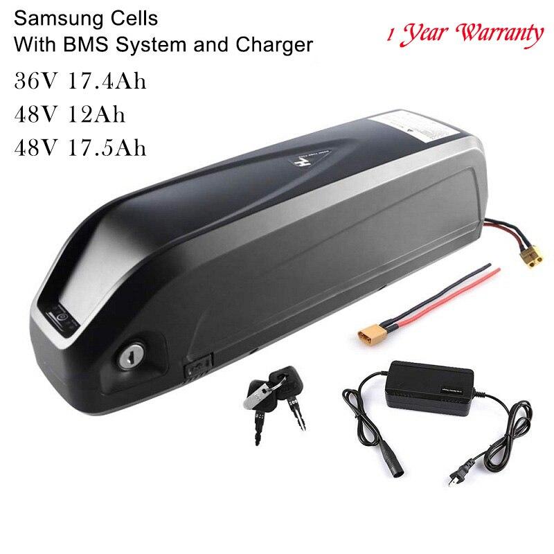 36V 17.4Ah 48V 12Ah 17.5Ah Lithiumlon E-Bateria Com Carregador para Bicicleta Elétrica do motor Da Bicicleta Inset Samsung células