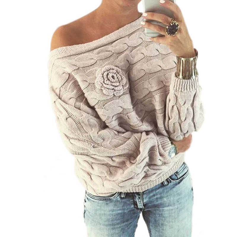 Womens Pullover Sweaters 2019 Autumn Knit Flower Sweater Hot Selling Fashion Loose Casual Solid Color Female Clothing MMY69128