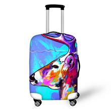 Thikin Travel on the Road Oil Painting Luggage Cover for Girl School Trunk Suitcase Protective Bag Protector