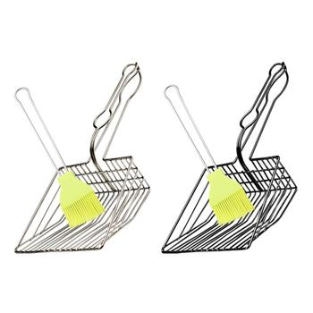 Plated Metal Large Size Cat Litter Shovel Scoop With Cleaning Brush In Random Color Pet Cleanning Tool 1
