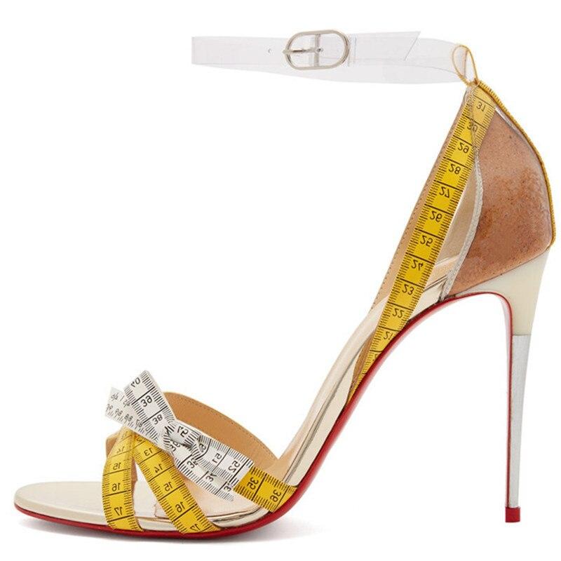 a7a26153 Mujer Alto nudo Yellow Banda Estrecha Zapatos Decoración Arco Punta Patrón  Tacón Cinta Sandalias Métrica De ...
