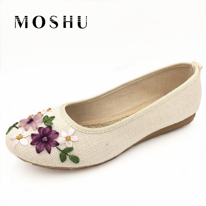 Designer Summer Women Flats Ballet Shoes Embroidery Hand Make Round Toe Canvas Espadrilles Casual Loafers sapato feminino цены онлайн