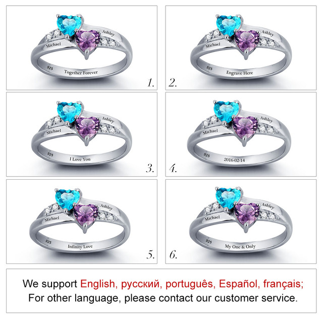 925 Sterling Silver Engagement Birthstone Ring Engrave Name DIY Love Heart Wedding Rings Anniversary