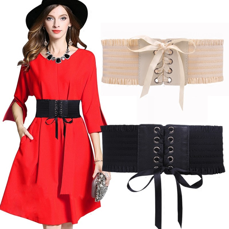 Elastic Wide Belts For Women Jeans Famous Fashion Design Party Cummerbunds Women's Waistband Black Costume Dress Cummerbund Coat
