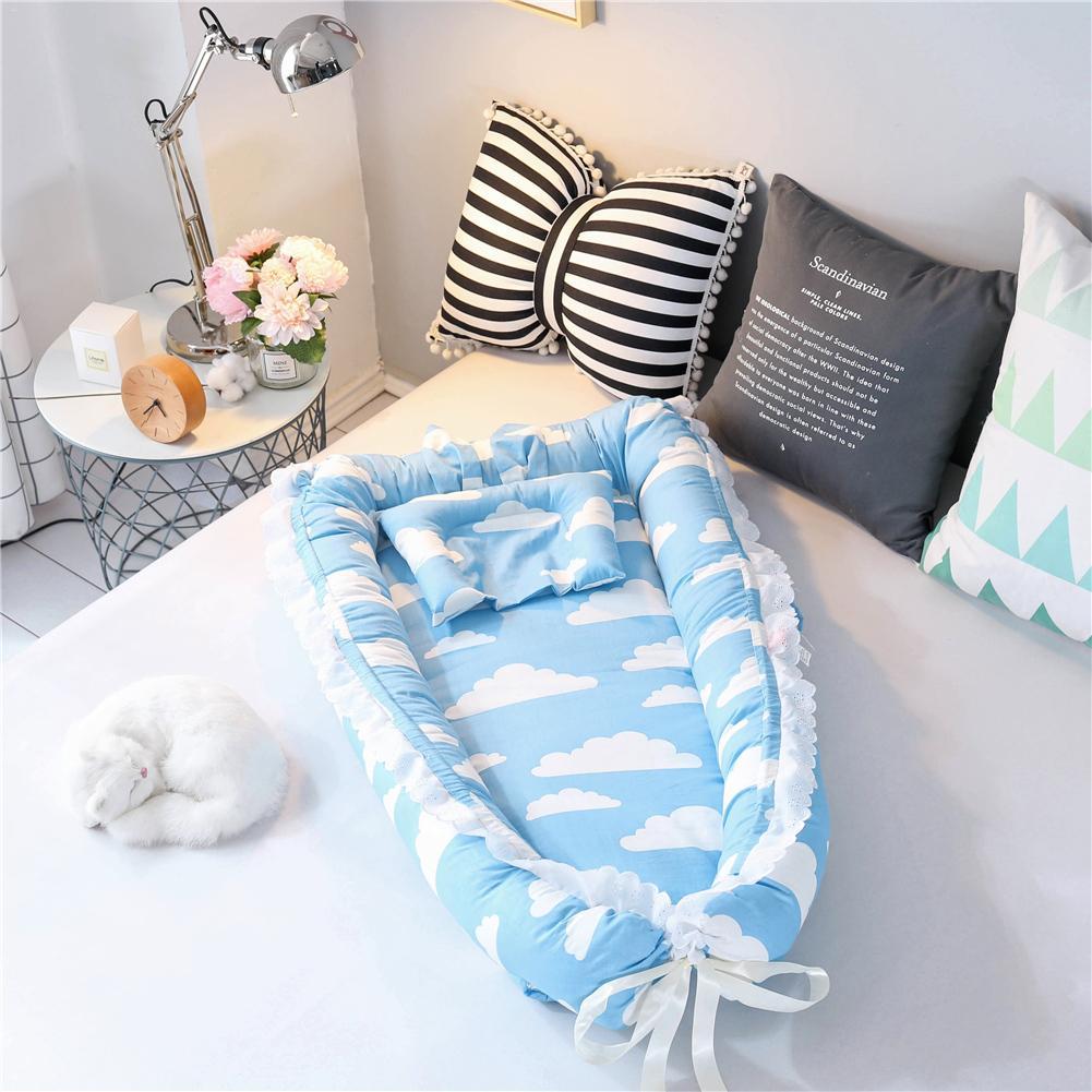 Baby Nest Cartoon Printing Bionic Bed Detachable Washable Portable Baby Bed Multifunctional Travel Crib Newborn Mattress