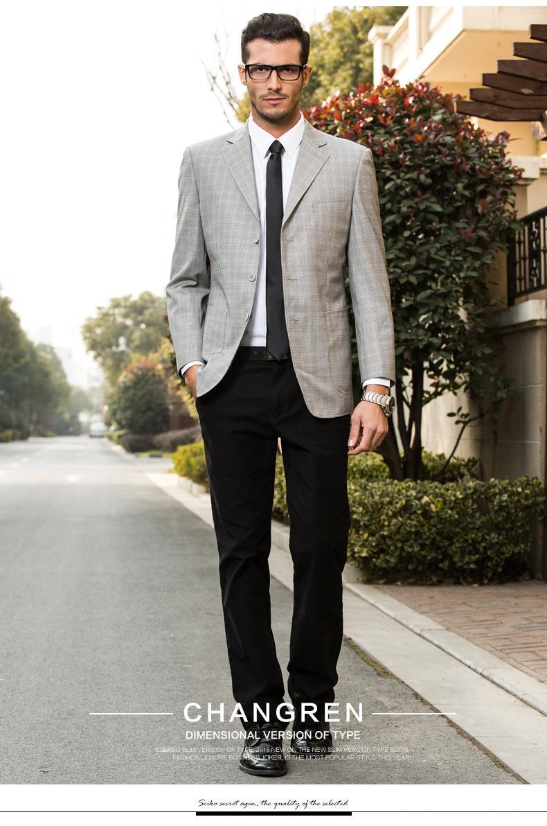 2016 Spring Autumn Light Grey Plaid Suit Foamal Business Men's ...