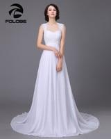 2015 New Stock Robe De Mariee US Size 4 18 White Ivory Appliques Chiffon Lace A
