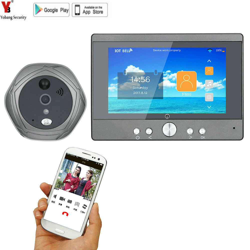 720P WiFi Wireless Digital Peephole Door Viewer 5 Front Door Peephole Camera Wifi Doorbell with Intercom or take video image