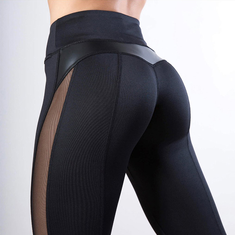 2020 New Solid High Waist Fitness Sexy Legging Women Heart Workout Leggins Female Fashion Mesh And PU Leather Patchwork Leggings
