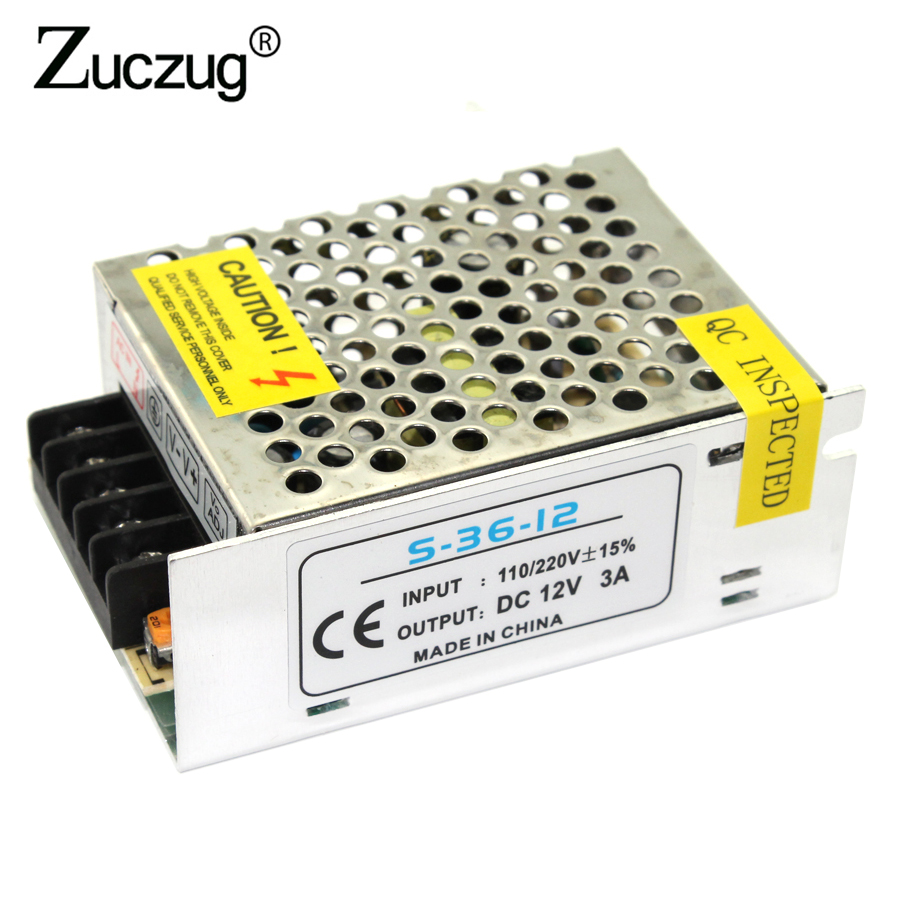 Power Supply led driver 12V 3A 36W for Led Strip light 3528 5050 AC 110-240V 220v to DC 12 v Transformer Adapter Switching