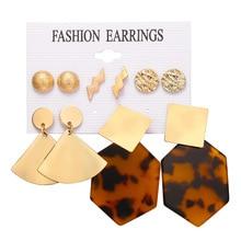 New women earrings Creative Metal Sheet Polygonal Leopard Texture Acrylic Nail Set earring for