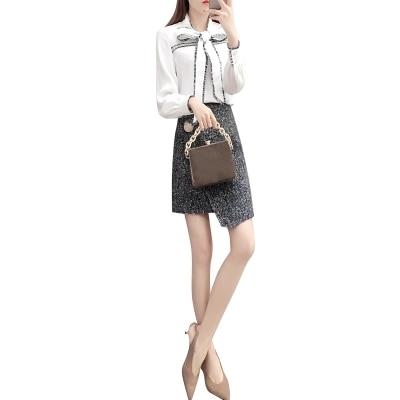 Di A Dell'anca 1 Temperamento Due Sacchetto Vestito Signore Nuova Del Dell'arco Modo Femme Camicia Pezzi Inverno Delle Primavera Donne Bianca dSwHCnZq6