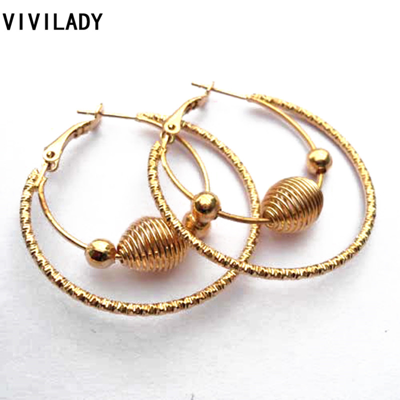 VIVILADY Fashion Punk Lead Nickel Free Gold Color Big Basketball Wives Hoop Earrings Female Girl Jewelry Bijoux Accessory Gifts