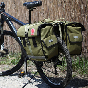 Image 4 - ROSWHEEL Retro Canvas Bicycle Carrier Bag 50L Rear Rack Trunk Bike Luggage Back Seat Pannier Cycling Storage Two Bags 14686