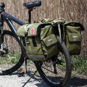 Image 4 - ROSWHEEL Retro della Tela di canapa Della Bicicletta Carrier Bag 50L Cremagliera della Parte Posteriore Tronco Bike Bagagli Sedile Posteriore Pannier Ciclismo Bagagli Due Borse 14686