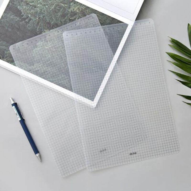 3pcs Simple Transparent PP Test Grid Pad A4 Cutting Mat Desktop Stationery Ruler With Calibrated Writing Board