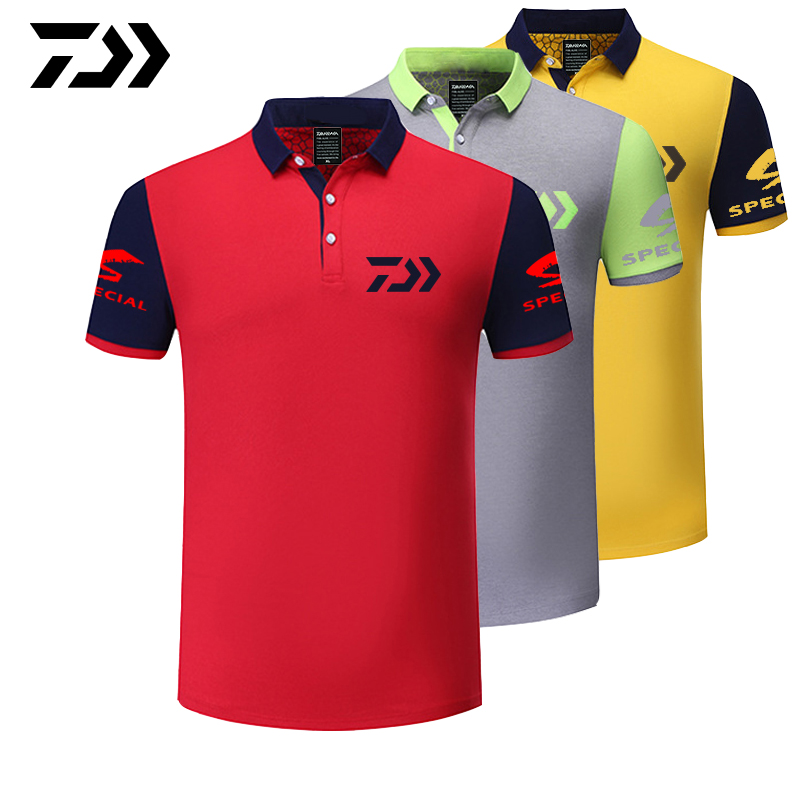 2019 Daiwa Clothing Summer Sports Polo Tee Fishing Tshirt Patchwork Breathable Outdoor Running Fishing T-shirt Cycling Men Tops