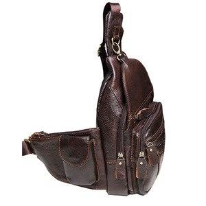 Image 4 - 男性革の牛革レトロ有名なブランドの高品質旅行メッセンジャーショルダー日パック胸バッグ新 2019