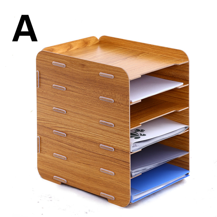 Wooden file rack holder creative desktop A4 file box 6 multilayer information storage frame magazine organizers office supplies information searching and retrieval