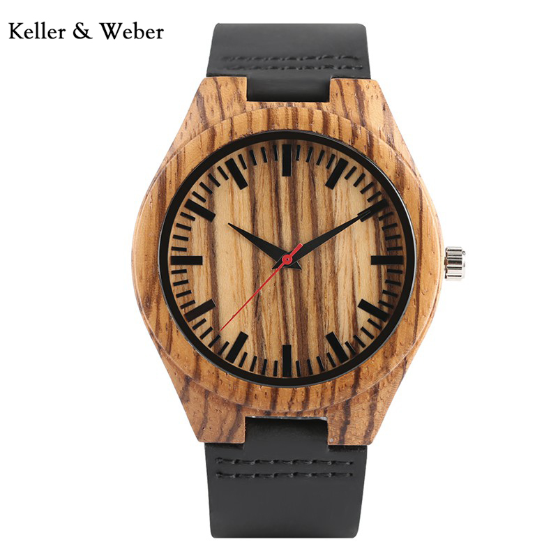 KW Fashion Men Bamboo Wood Quartz Analog Watch with Genuine Leather for Men Nature Zebra-Stripe Unique Watch relogio clock Gifts