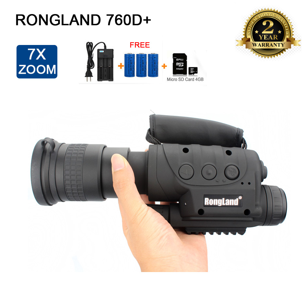 Rongland NV-760D+ 400M Infrared Night Vision IR Monocular Telescopes 7x60 ZOOM Video Recorder+3XBatteries+Charger+4GB TF CARD