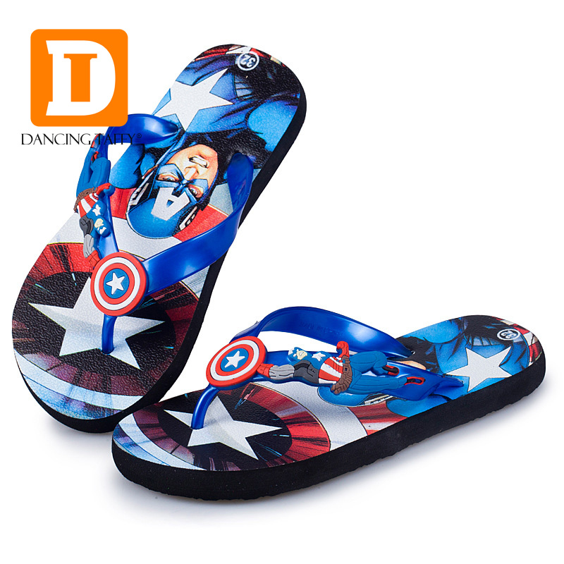 2017 Cartoon Children Slippers Spider Man Boys Slippers Captain America Beach Summer Kids Slippers Indoor Shoes Home Sandals