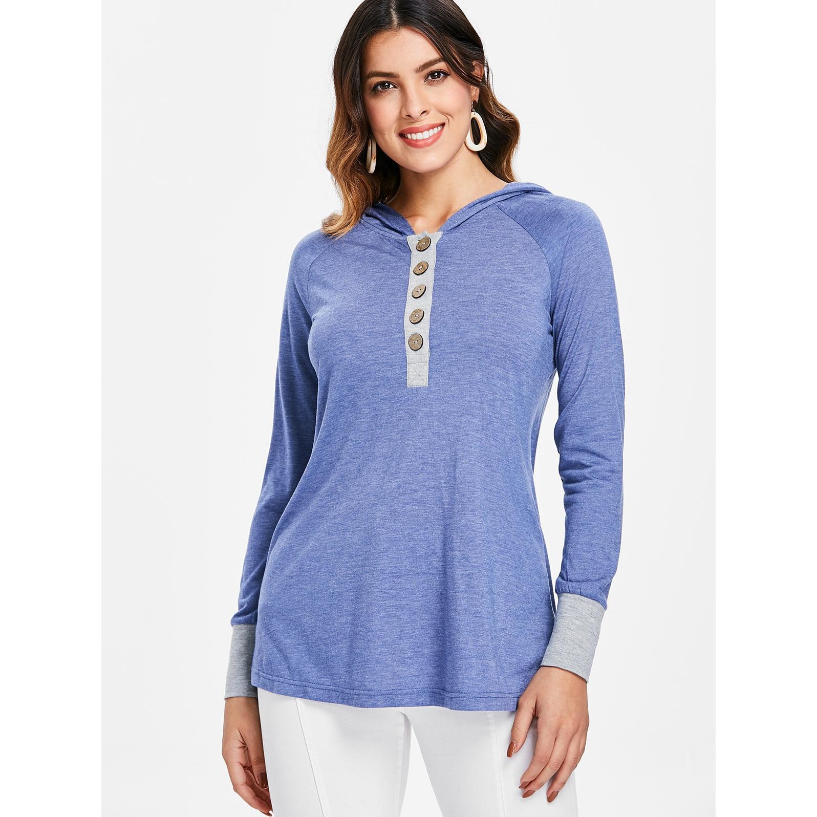 Camisas Camisa Casual Contraste Steel De Mujer Las Con Manga Larga Light Tops Mujeres Kenancy Otoño Capucha Damas Raglán Blue Blusas AxP7n7q