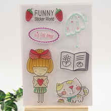 1 sheet DIY Funny Cats and Girls Design Transparent Clear Rubber Stamp Seal Paper Craft Scrapbooking Decoration