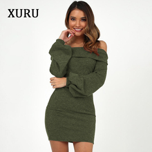 XURU 2019 spring new dress long-sleeved slim sexy cashmere sanded fashion dresses