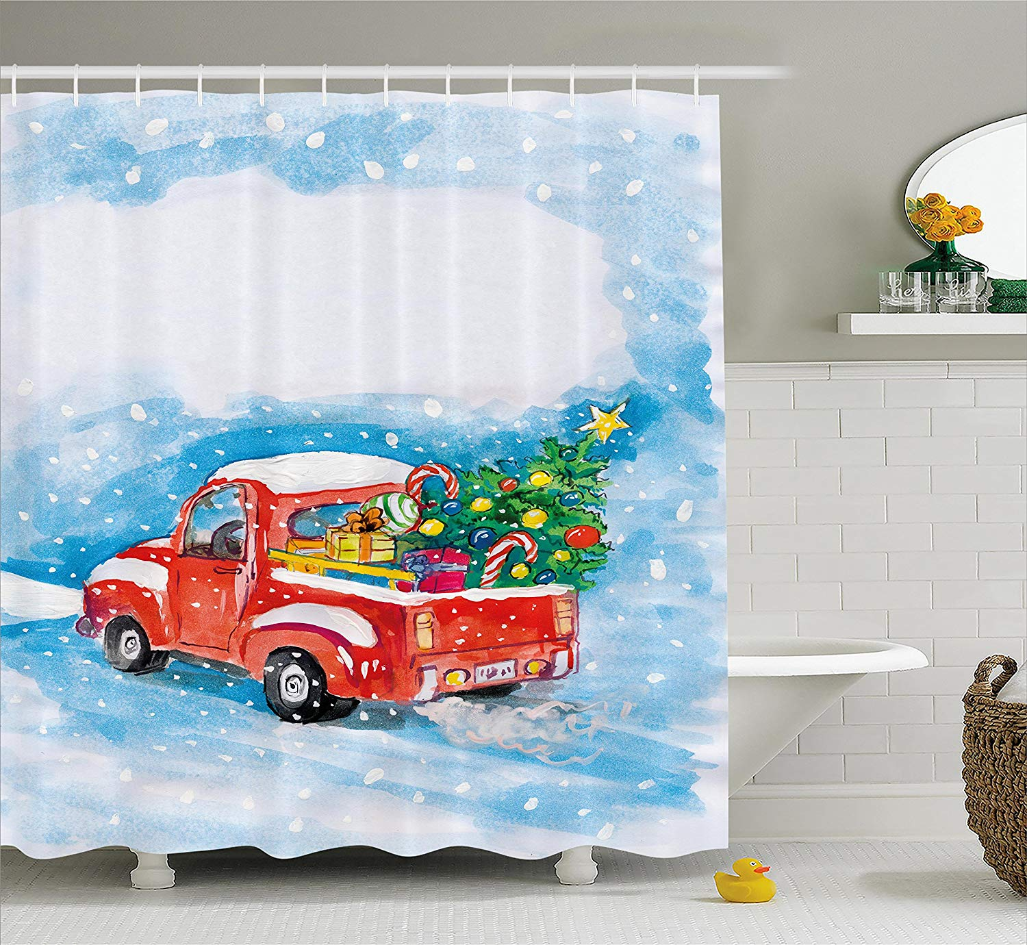 Christmas Shower Curtain Set Vintage Red Truck In Snowy Winter Scene Xmas Tree Gifts Candy Cane Kids