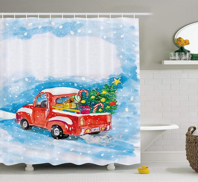 Christmas Shower Curtain Set Vintage Red Truck In Snowy Winter Scene Xmas Tree Gifts Candy