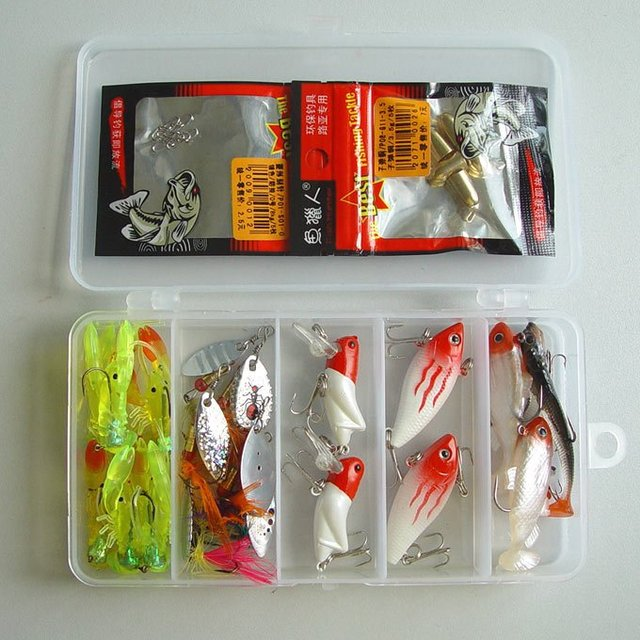 Free shipping, Fishing Lure,Minnow/Grasshopper,Metal Spoon/Spinner,Soft Fish/Shrimp 2g-8g/3cm-6cm 22pcs/box