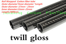 3k Carbon Fiber Tube 17mm 18mm 19mm 20mm  21 22mm (Roll Wrapped) with1000mm long,Light Weight, High Strength