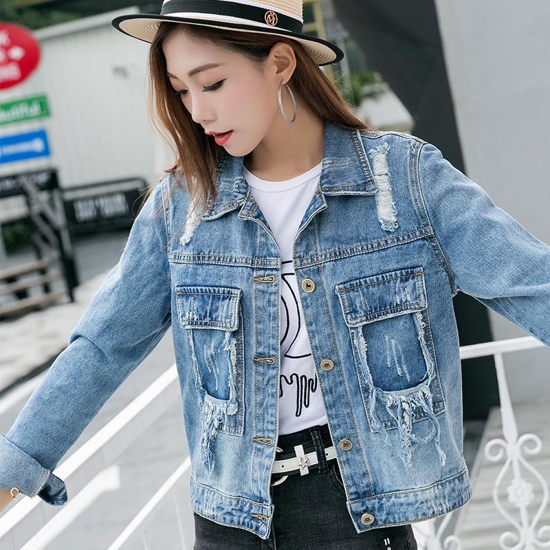 Denim Jacket Women 2018 Spring Loose Big Hole Punk Rock Fashion Jean Jacket  Women Sky Blue Coat For Women Girls Outwear-in Basic Jackets from Women s  ... 73de95e55