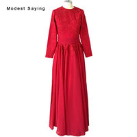 Elegant Drak Red A Line Long Sleeve Lace Muslim EveningDresses 2017 with Big Bow Long Formal Maid of Honor Party Prom Gowns BE46