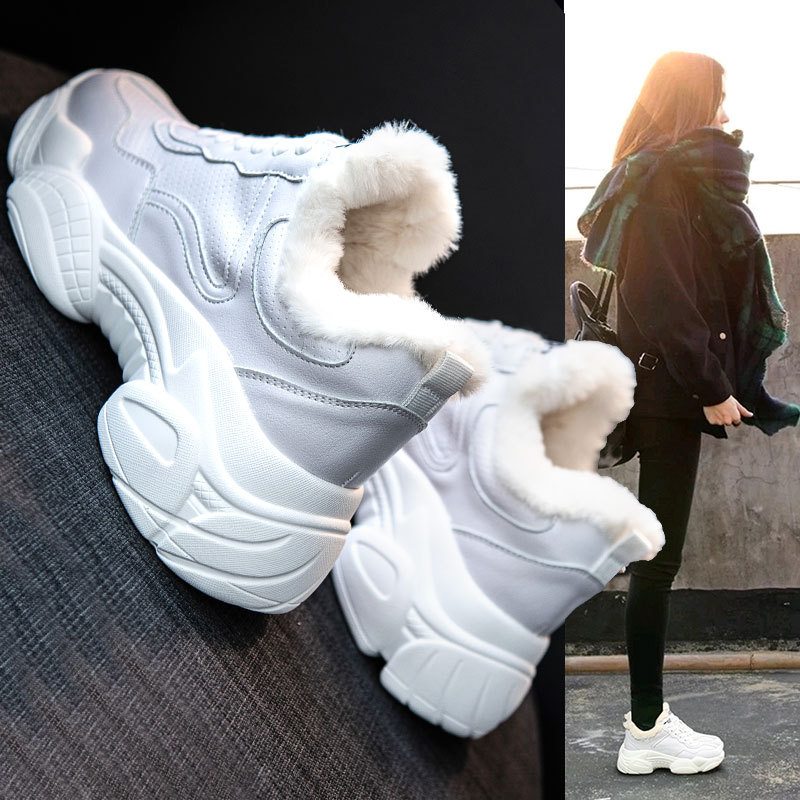 Image 3 - SWYIVY Chunky White Sneakers Women Casual Shoes Women Sneakers 2019 Warm Winter Fashion Leather Platform Snow Ladies Shoe PlushWomens Vulcanize Shoes   -