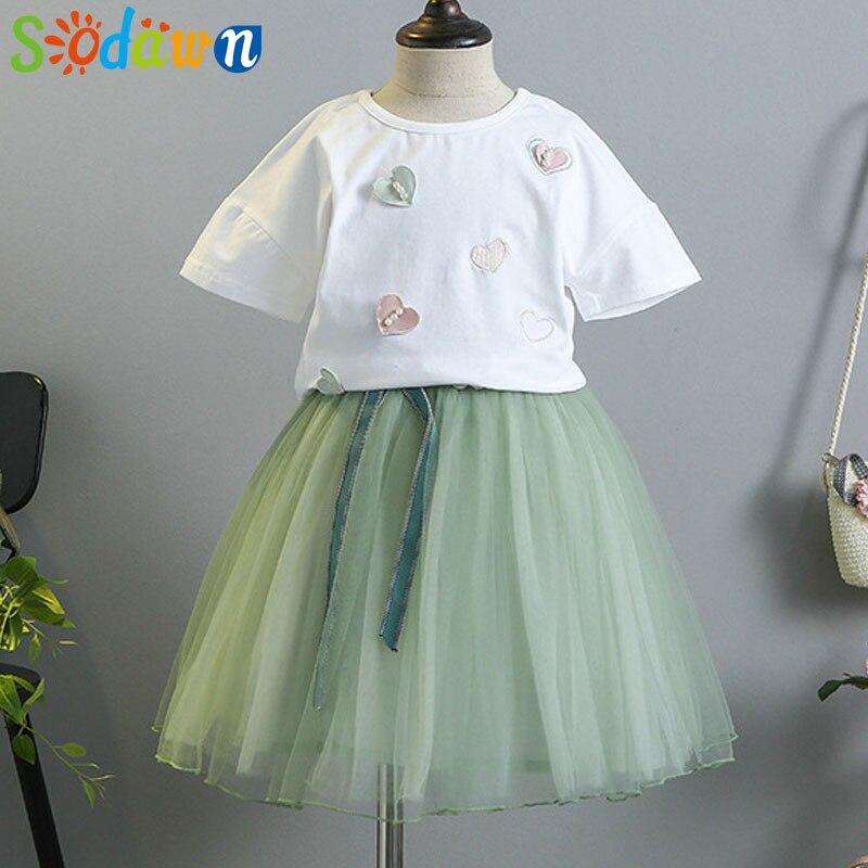 Sodawn 2018 Girls Clothes Summer Dress Fashion New Girls Clohting Set Love Design Short Sleeve T-Shirt + Mesh Half Dress Set fashion girls dress 2018 summer new