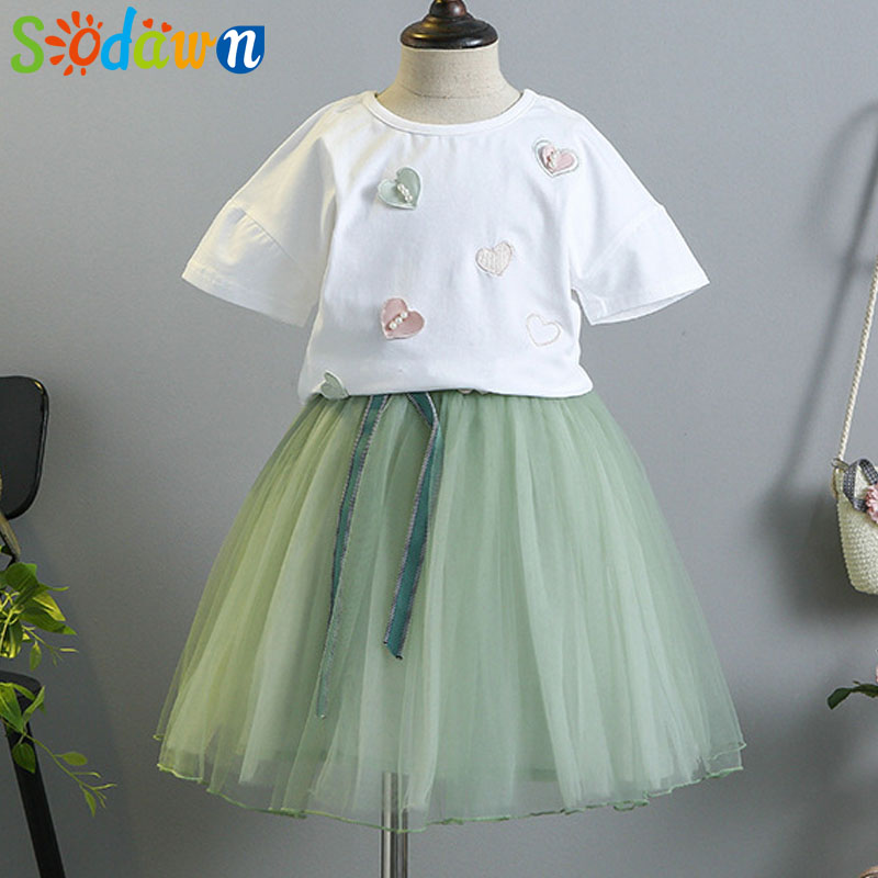 Sodawn 2018 Girls Clothes Summer Dress Fashion New Girls Clohting Set Love Design Short Sleeve T-Shirt + Mesh Half Dress Set