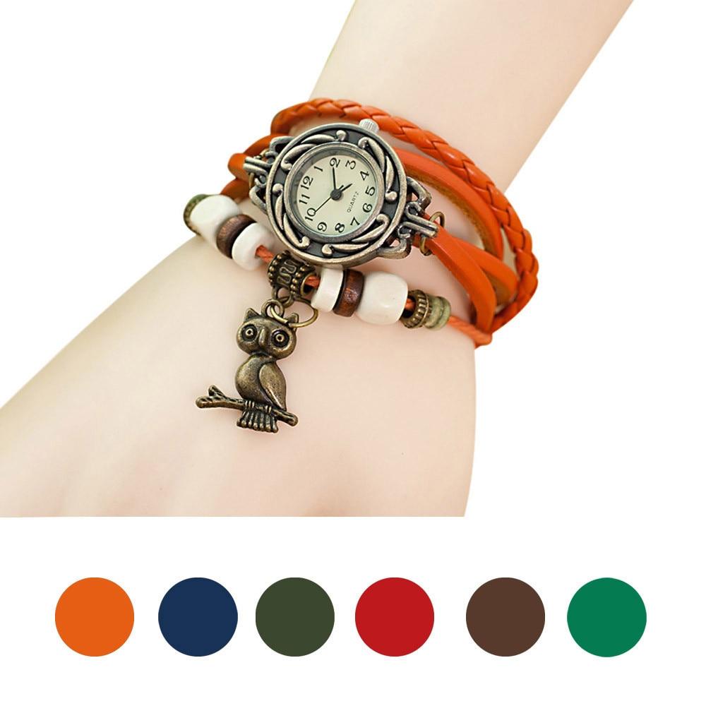 RosonseWomen Leather Woven Owl Pendant Vintage Watch Wristwatch