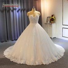 Женское кружевное свадебное платье на бретельках