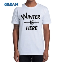 GILDAN Game Of Thrones Winter Is Here T Shirt Men Letter Arrow Tops Handsome Original Tees