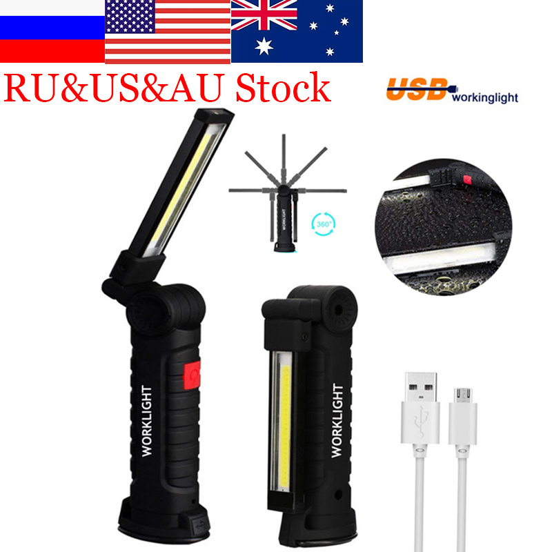 Zk20 USB Rechargeable LED Flashlight Collapsible COB Portable  Woring Light Magnetic Base Hook Inspection Repairing Camping Lamp