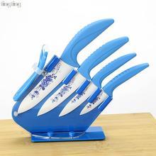 """Hohe Qualität Blue Flower Painted Keramisches frucht küchenmesser Set Kit 3 """"4"""" 5 """"6""""inch Schäler + kostenloser versand"""